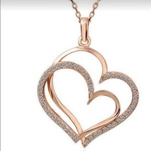 Jewelry - Rose Gold Double Heart Necklace
